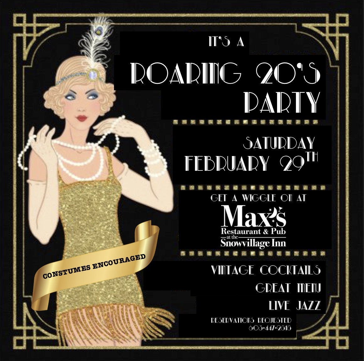 Roaring 20s Weekend Getaway & Costume Party, February 28th & 29th